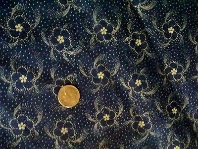 Antique 19thc Indigo Blue Fabric Floral Calico 24.5x18 Orig Selv