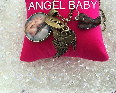 00081  ANGEL BABY Mahogany Obsidian Angel  Infused Necklace Remember