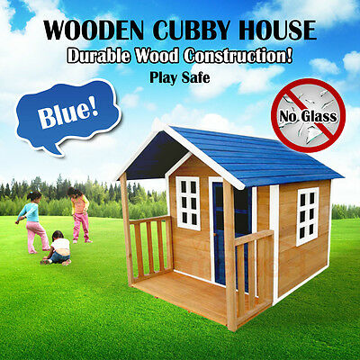 Blue Wooden Cubby House Outdoor Playhouse Durable Wood Construction No Glass