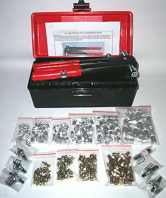 316 Pc Imperial Blind Rivet Nut, Nutsert, Insert, Nut Sert Tool Kit 6/32 To 3/8