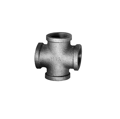 "Black Iron Pipe Four Way Cross 3/4"" FIP FPT NPT Female Fitting"