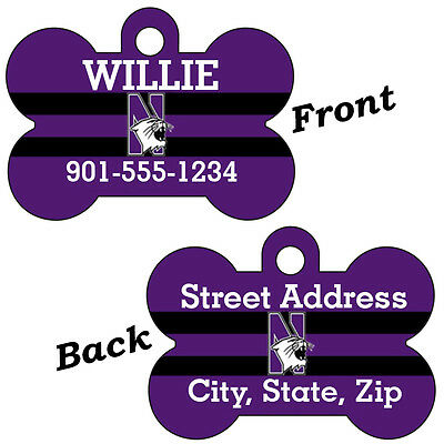Northwestern Double Sided Pet Id Dog Tag Personalized w/ 4 Lines of Text