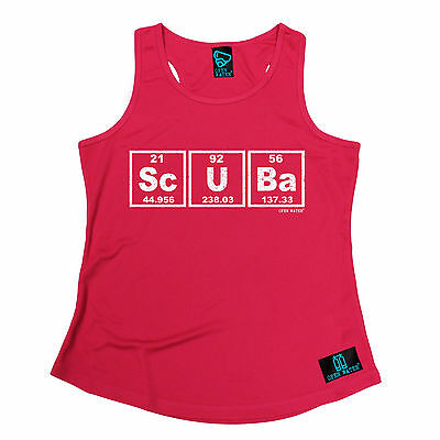 Scuba Periodic Elements Open Water WOMEN DRY FIT VEST singlet birthday scuba