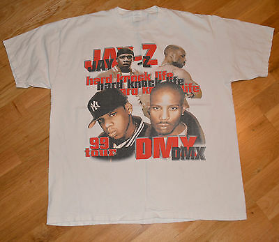 RaRe *1999 JAY-Z & DMX* vtg rap hip-hop concert tour shirt (XL) 90's Method Man