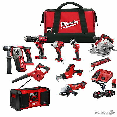 Milwaukee 18V M18 M12 10 Pc Brushed Tool Lithium-Ion Kit Includes 2-Mode Rotary