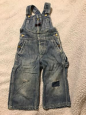 VINTAGE 1950s BIG SMITH INFANT BABY OVERALLS. VERY DISTRESSED. RUSTIC