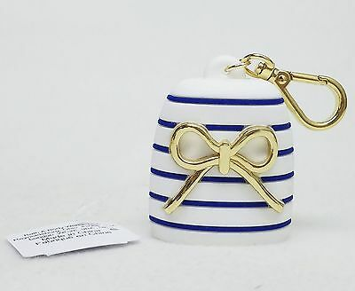 Bath Body Works BLUE STRIPE GOLD BOW Pocketbac Sanitizer Hand Gel Case Holder