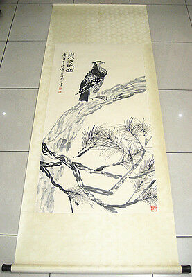 Excellent Chinese Hand Painting Eagle and Tree By Qi Baishi齐白石