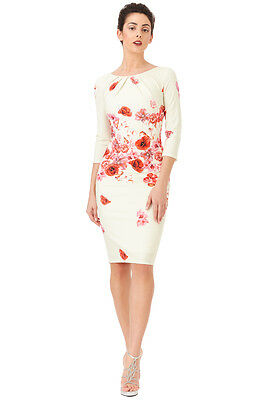 New Women's Red Floral Print Midi Cocktail Pencil Evening Party Dress Size(8-16)