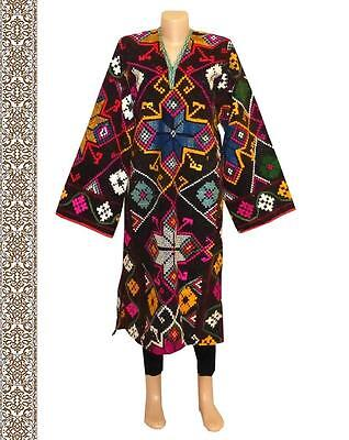 Rare Vintage Gorgeous Nomad Uzbek Kirghiz Colorful Hand Embroidery Dress  A9804