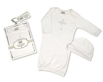 2 Piece Baby Christening Gown And Hat Outfit Set White 0/6 Months
