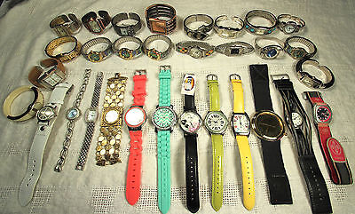 LOT of 31 New & Used Watches~FOSSIL~VENDOME~BELAIR~TIMEX~GENEVA~MATHEY~BANGLES