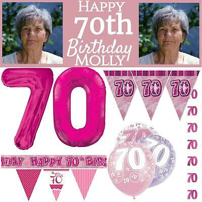 Pink Age 70 Happy 70th Birthday Party Decoration Girls Celebration