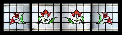 4 Antique Stained Glass Windows VICTORIAN RUBY Vitraux