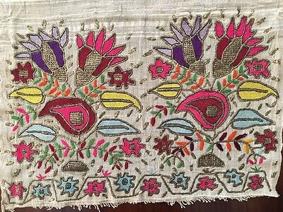 Antique Ottoman-Turkish Silk & Gold Metallic Hand Embroidery On Linen Fragment 1