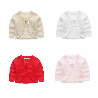 Baby Girls Knitted Cardigan bolero white red pink creme black sliver size3/6M-12