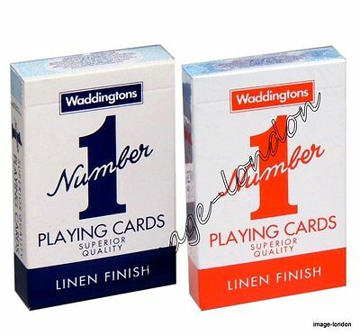 2 Decks of WADDINGTONS NUMBER 1 No 1 Playing Cards Classic - Red and Blue