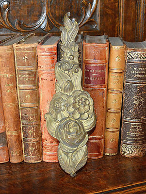 Antique French Bronze Rose Floral Furniture Decorative Trim Mount