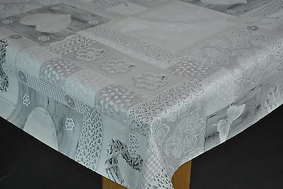 Hearts At Home Grey Vinyl Wipe Clean Pvc Tablecloth