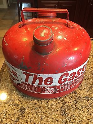 "Vintage Eagle ""the Gasser"" Red 2 1/2 Gallon Galvanized 28 Gauge Steel Gas Can"