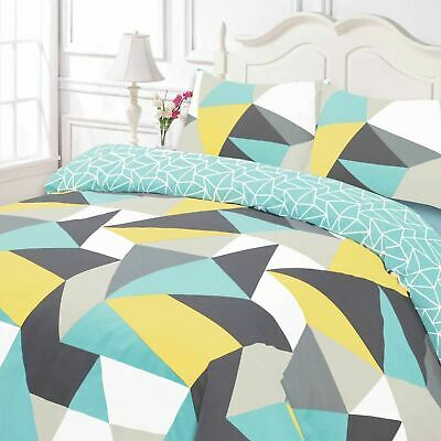 Duvet Cover with Pillow Case Geometric Shapes Reversible Blue White Bedding Set