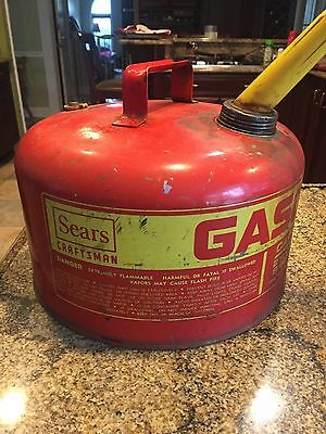 Vintage Sears Craftsman Gasoline Can 2 1/2 Gallons W/spout-Heavy Gauge Steel-