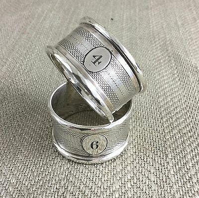 Antique Silver Plated Napkin Rings Engraved Numbered Pair Victorian / Edwardian