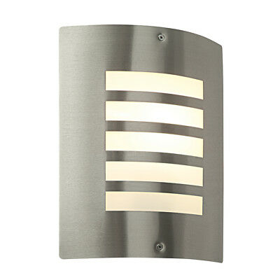 Modern Outdoor Garden Curved IP44 LED Compatible E27 Stainless Steel Wall Light