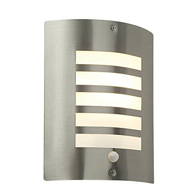Saxby ST031FPIR Bianco Outdoor Stainless Steel Wall Light PIR Motion Sensor IP44