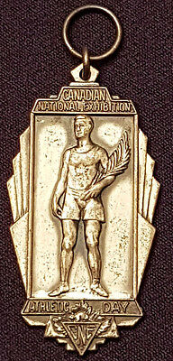 1938 - Canadian National Exhibition Cne - Athletic Day - Original Sterling Medal