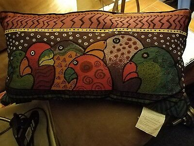 Laurel Burch Tapestry Throw Pillow - Parrot Theme