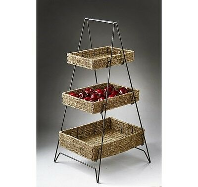 Three-Tier Seagrass Serving Trays with Collapsible Tiered Stand
