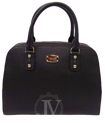 New Michael Kors Saffiano Large Satchel Black Leather Shoulder Bag Handbag Tote