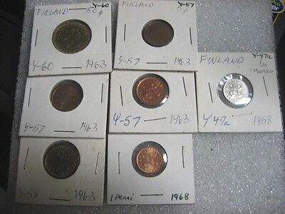 Coin Finland 1958,63,68 lot of 7 coins UNC