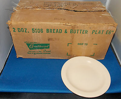 "VINTAGE 24 BOONTONWARE BUFF MELMAC 6"" CAKE PLATES MELAMINE bread & butter"