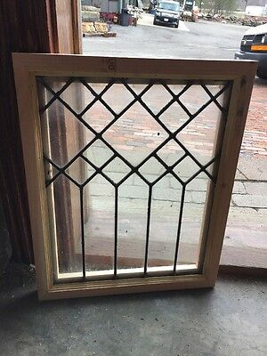 Sg 1328 Antique Leaded Glass Window 16 W By 20.2 5H