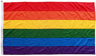 Rainbow LGBT gay pride flag sewn MoD approved outdoor toggled stitched 5x3ft