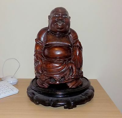 Antique HUGE Chinese Hand Carved Inlaid Rootwood Buddha on Hardwood Lotus Stand
