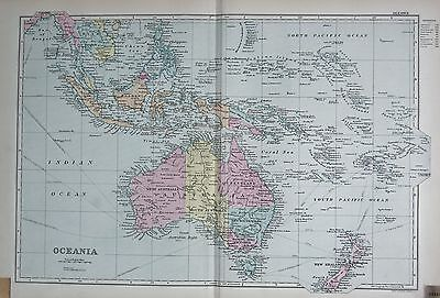1890 Large Victorian Map -  Oceania, Australia, New Zealand, Fiji, Philippines