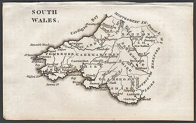 1790 Antique County  Map - Aikin - South Wales,radnor,pembroke,glamorgan,breckno