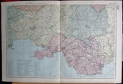 1896 Large Victorian Map- Wales South, Welsh Place Names