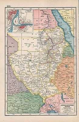 1920 Map -Post Ww1- Anglo-Egyptian Sudan, Inset Khartoum