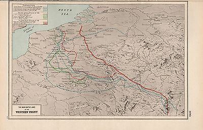 1920 Map -World War 1- Main Battle Lines Of The Western Front
