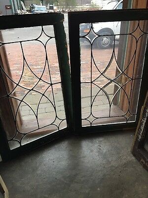 Sg 1333 Match Pair Antique Beveled And Leaded Glass Window 22.75 X 34.5