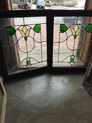 Sg 1334 Matched Pair Antique Floral Leaded Windows 24.25 X 28.5 H