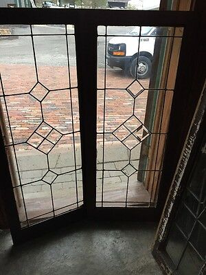 Sg 1336 Antique Leaded And Beveled Glass Window 2 Available. Price Each 20 X 48""