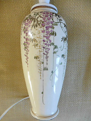 Antique Japanese Meiji period Satsuma vase / lamp - wisteria - good - marked.