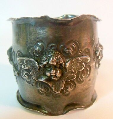RARE Antique SHIEBLER Sterling Silver Napkin Ring Angels Putti Cupids