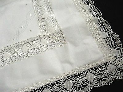 pair of antique unused pillowcases with lace flounces