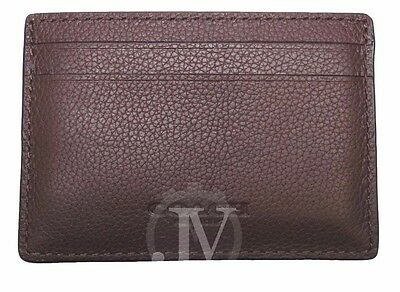 New Men's Coach Mahogany Leather Money Clip Card Case Holder Wallet